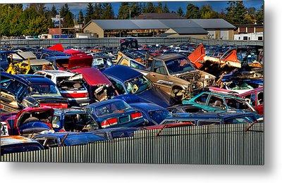 Traffic Jam - Ferrell's Auto Wrecking Metal Print by David Patterson