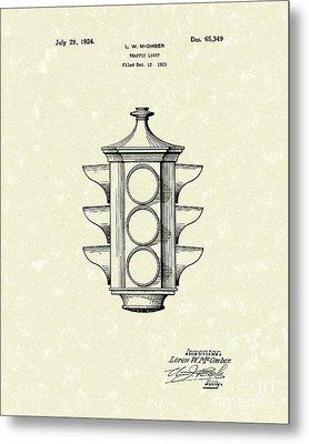 Traffic Light 1924 Patent Art Metal Print by Prior Art Design