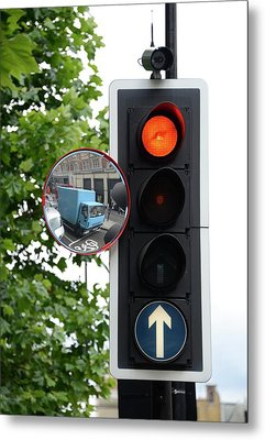 Traffic Lights And Mirror Metal Print by Cordelia Molloy