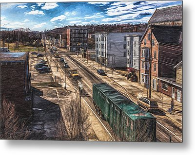 Metal Print featuring the painting Traffic On Lincoln Street by Bob Orsillo