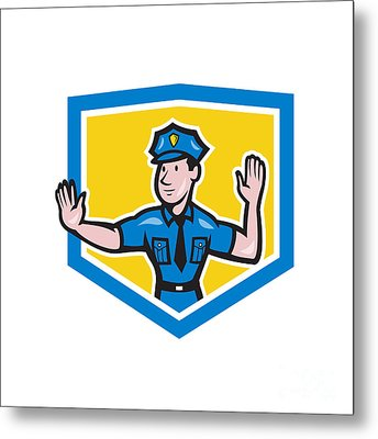 Traffic Policeman Stop Hand Signal Shield Cartoon Metal Print by Aloysius Patrimonio