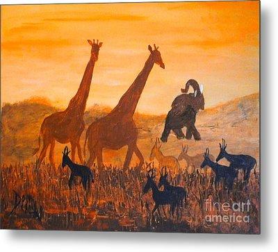 Metal Print featuring the painting Traffick On Serengeti by Donna Dixon