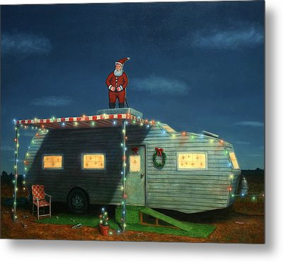 Trailer House Christmas Metal Print by James W Johnson