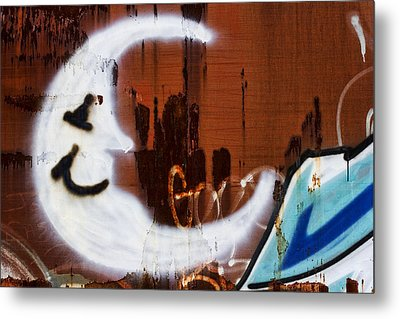 Train Art Man In The Moon Metal Print