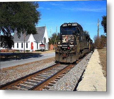 Train Goes To Church Metal Print