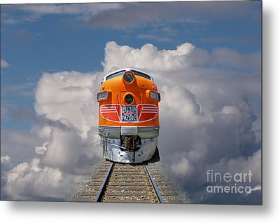 Train In Clouds Metal Print by Ron Sanford