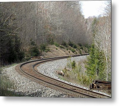 Train It Coming Around The Bend Metal Print by Brenda Brown