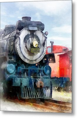 Train - Locomotive And Caboose Metal Print by Susan Savad