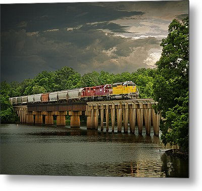 Train On A Stormy River Evening Metal Print