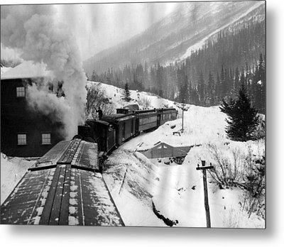 Train Ride Through The Snow Metal Print by Retro Images Archive