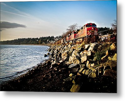 Train Speeding Through Whiterock Metal Print by Eva Kondzialkiewicz