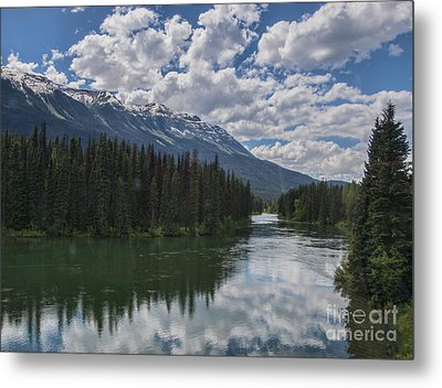 Train Window View Of Lake And Canadian Rockies Metal Print