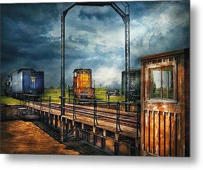 Train - Yard - On The Turntable Metal Print by Mike Savad