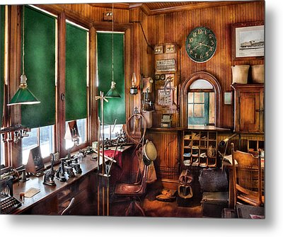 Train - Yard - The Stationmasters Office  Metal Print by Mike Savad