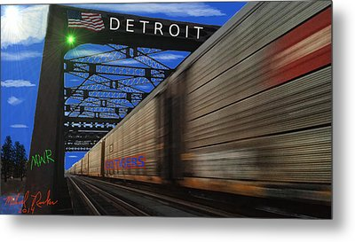 Trains Of Detroit Metal Print by Michael Rucker