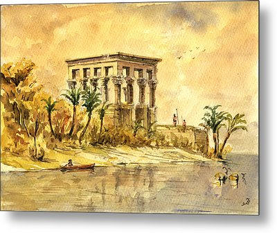 Trajan Kiosk Temple Aswan Egypt Metal Print by Juan  Bosco
