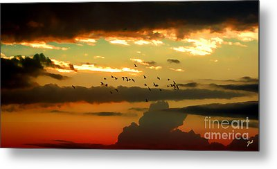 Sunset 1 Metal Print by Ze  Di
