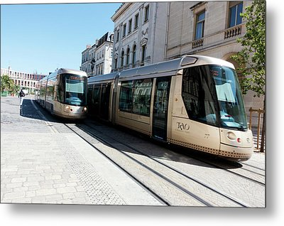 Trams In Orleans Metal Print by Louise Murray