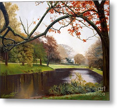 Tranquil Town Pond In East Hampton Metal Print