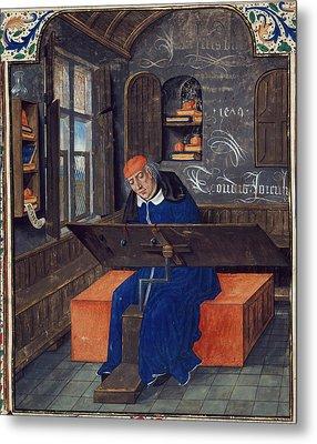 Translator At Work In His Study Metal Print