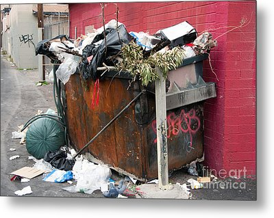 Metal Print featuring the photograph Trash Dumpster In Slums by Gunter Nezhoda