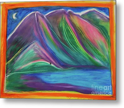 Metal Print featuring the painting Travelers Mountains By Jrr by First Star Art