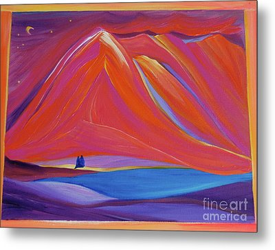 Metal Print featuring the painting Travelers Pink Mountains by First Star Art