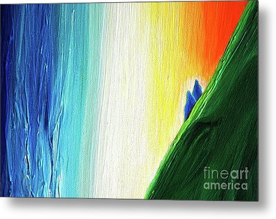 Metal Print featuring the painting Travelers Rainbow Waterfall Detail by First Star Art