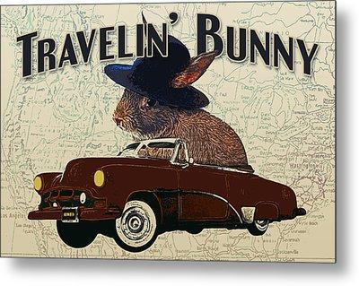 Travelin' Bunny Metal Print