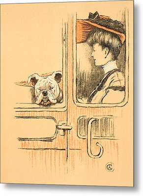 Traveling In First Class Metal Print by Cecil Charles Windsor Aldin