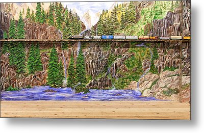 Metal Print featuring the painting Traveling The Rails Wall Mural by Alethea McKee