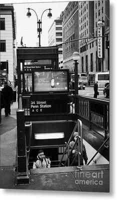 Travellers Exiting 34th Street Entrance To Penn Station Subway New York City Metal Print by Joe Fox
