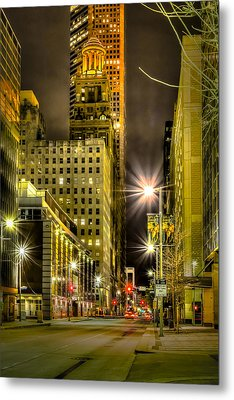 Travis And Lamar Street At Night Metal Print