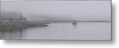 Metal Print featuring the photograph Trawler In Fog by Marty Saccone