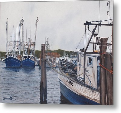 Trawlers At Gosman's Dock Montauk Metal Print by Barbara Barber