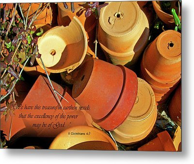 Metal Print featuring the photograph Treasure In Clay Pots by Larry Bishop