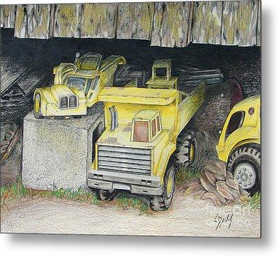 Treasures Under The Barn Metal Print by Lew Davis