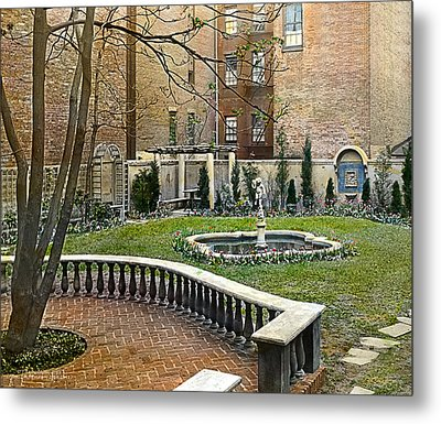 Tree And Bench Metal Print by Terry Reynoldson