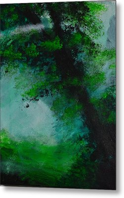 Tree And Mist Metal Print