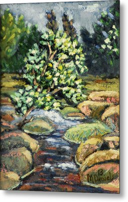Tree And Stream Metal Print