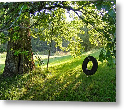 Tree And Tire Swing In Summer Metal Print