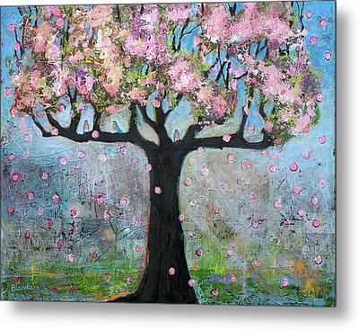 Tree Blossoms And Bluebirds Metal Print