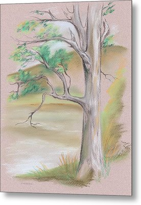 Metal Print featuring the pastel Tree By A Mountain Lake by MM Anderson
