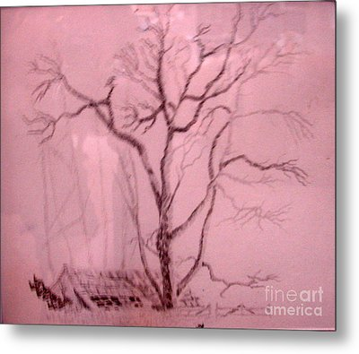Tree Growing Out Of Barn Metal Print