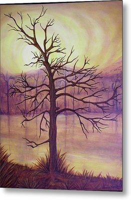 Tree In Gold Landscape Metal Print by Jan Wendt