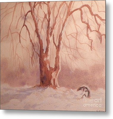 Tree In Snow Metal Print by Suzanne McKay