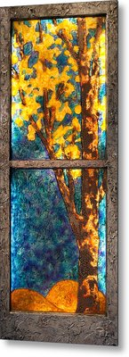 Tree Inside A Window Metal Print