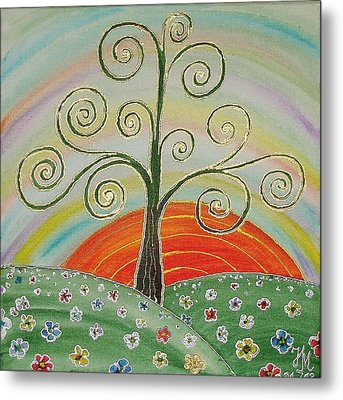 Metal Print featuring the painting Tree Of Happiness by Nina Mitkova