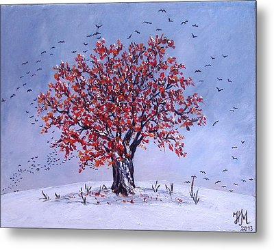 Metal Print featuring the painting Tree Of Life by Nina Mitkova