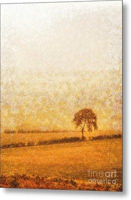 Tree On Hill At Dusk Metal Print